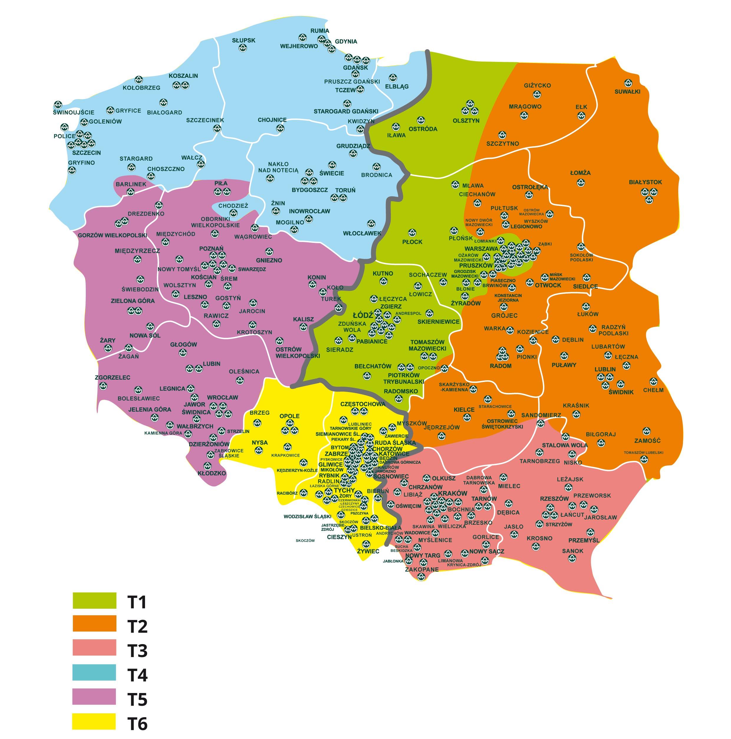 Mapa podziału stref